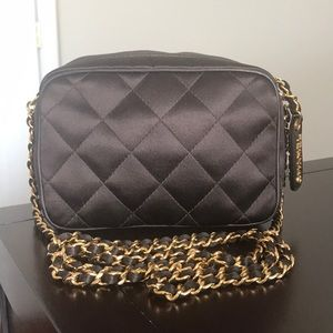 Vintage💯Authentic Chanel Quilted Satin Bag Brown